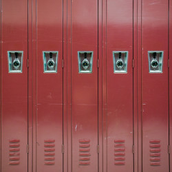 A row of lockers can be seen at Troy Howard Middle School in Belfast in this September 2016 file photo.