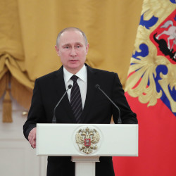 Russian President Vladimir Putin speaks during a reception at the State Kremlin Palace on Dec. 28, 2016, in Moscow.