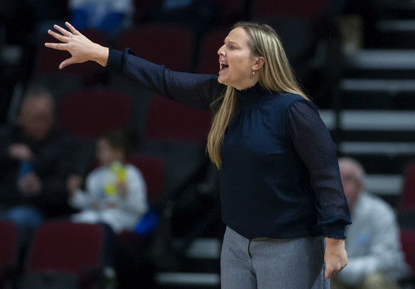 University of Maine interim coach Amy Vachon yells instructions to her team during their game against University of Maryland, Baltimore County, at the Cross Insurance Center in Bangor on Saturday. Vachon is coaching the team in the absence of head coach Richard Barron, who is on medical leave for an undisclosed illness.