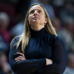 University of Maine interim coach Amy Vachon watches as time expires during the first half of their game against University of Maryland, Baltimore County, at the Cross Insurance Center in Bangor on Saturday. Vachon is coaching the team in the absence of head coach Richard Barron, who is on medical leave for an undisclosed illness.