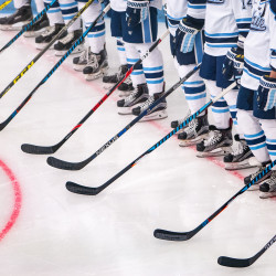 University of Maine Orono ice hockey players line up before a home game against Quinnipiac in Orono in this October 2016 file photo.