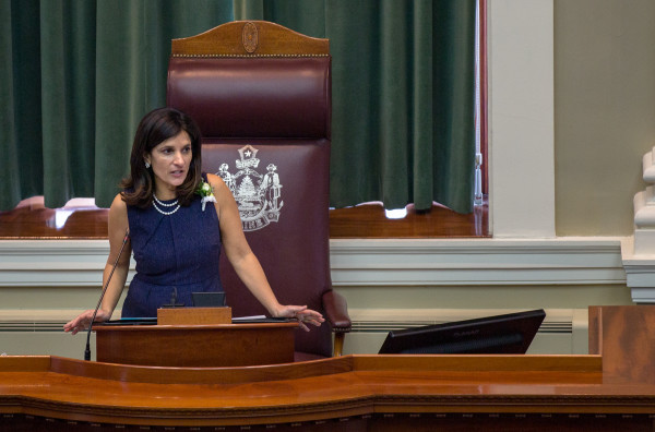 Maine Speaker of the House Sara Gideon, D-Freeport, speaks during the first session of the 128th Legislature on Dec. 7, 2016, at the State House in Augusta.