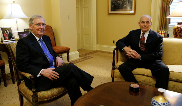 Senate Majority Leader Mitch McConnell (left) meets with President-elect Donald Trump's Homeland Security Secretary nominee John Kelly at the U.S. Capitol in Washington on Jan. 5.