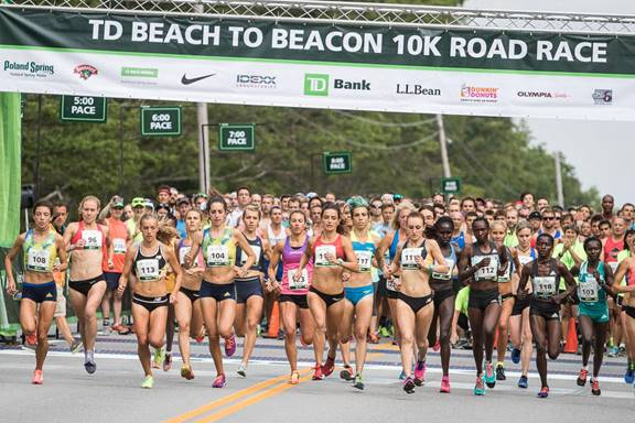 Runners in the Elite Women's division start the Beach to Beacon 10K in Cape Elizabeth in this August 2016 file photo.