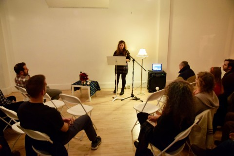 Poet Arielle Greenberg gives a reading, part of the series of events hosted by the Norumbega Collective in Bangor.