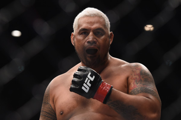 Mark Hunt (red gloves) looks on in his bout against Frank Mir (not pictured) during UFC Fight Night at Brisbane Entertainment Centre in Australia in March 2016.