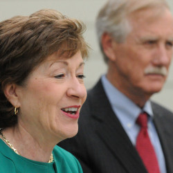 U.S. Sens. Angus King and Susan Collins speak during a press conference at the Margaret Chase Smith Library in Skowhegan, May 16, 2014.