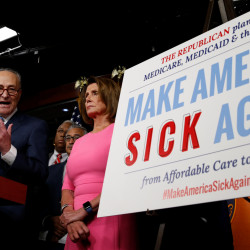 Senate Democratic Leader Chuck Schumer and House Democratic Leader Nancy Pelosi speak following a meeting with U.S.President Barack Obama on congressional Republicans' effort to repeal the Affordable Care Act on Capitol Hill in Washington, Jan. 4, 2017.