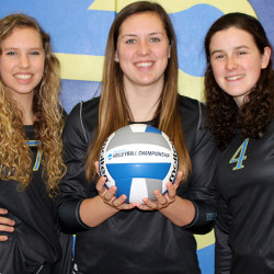 Members of the Maine Maritime Academy volleyball team Maggie MacMahon (from left), Alex McClure and Sydney Adams wear team uniforms made of 100 percent recycled and organic materials, which are manufactured by Atayne Athletic Apparel of Brunswick, in this undated photo.