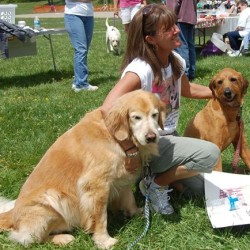 Homicide victim Alice Balcer is pictured a few years ago at the Mutt Strut hosted by the Kennebec County Humane Society, where she once worked.