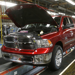 An assembly line with 2014 Ram 1500 pickup trucks is seen at the Warren Truck Plant in Warren, Michigan, U.S. on Sept. 25, 2014.