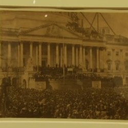 A rare photo from Abraham Lincoln's inauguration is seen at the Bowdoin College Museum of Art.