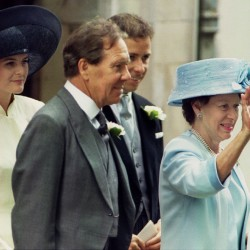 Princess Margaret (right) waves to her newly married daughter Lady Sarah Armstrong Jones and husband Daniel Chatto as they leave St Stephen Walbrook church in London July 14, 1994. Princess Margeret is flanked by her former husband Lady Sarah's father Lord Snowdon (center), their son Viscount Linley, and Linley's wife Serena.