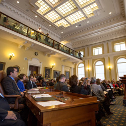 Members of the Maine Senate listen to Gov. Paul LePage speak during the first session of the 128th Legislature on at the State House in Augusta, Dec. 7, 2016.