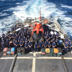 The crew of Coast Guard Cutter Tahoma, based out of Kittery, seized more than 3,100 kilograms of cocaine worth an estimated $90 million on the streets during a 49-day patrol in the eastern Pacific Ocean and Caribbean Sea.