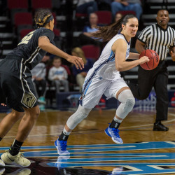 Naira Caceres of the University of Maine (right), pictured during a Nov. 11 game in Bangor, scored a career-high 11 points on Saturday but the Black Bears dropped a 55-41 decision to Stony Brook University on Long Island.