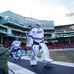 Goaltender Rob McGovern leads his University of Maine teammates onto the ice for Saturday's hockey game against the University of Connecticut at Fenway Park in Boston. The sophomore registered his first career shutout to backstop the Black Bears' 4-0 victory.