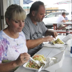 Michelle and Duke Popovich of Charlotte, North Carolina, enjoy their chimichangas at Vazquez Mexican Takeout in Milbridge in this 2015 file photo.