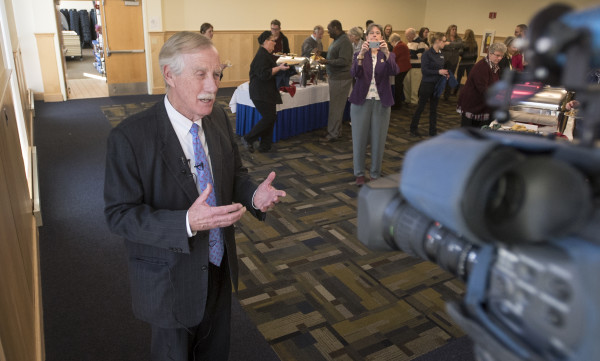 U.S. Sen. Angus King speaks to the media Monday, during the Martin Luther King Jr. Breakfast Celebration at Wells Conference Center at the University of Maine in Orono.