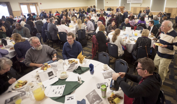 People gather at Wells Conference Center at the University of Maine in Orono for the  the Martin Luther King Jr. Breakfast Celebration.