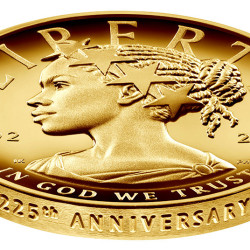 The new $100 gold coin featuring an African-American woman as the face of Lady Liberty for the first time in the history of U.S. currency, is shown in this photo in Washington, D.C., provided January 13, 2017.