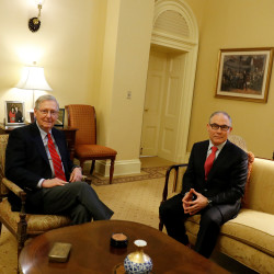 Oklahoma Attorney General Scott Pruitt, U.S. President-elect Donald Trump's pick as head of the Environmental Protectional Agency, meets with Senate Majority Leader Mitch McConnell in his office on Capitol Hill in Washington, D.C., January 6, 2017.