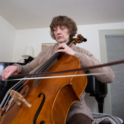 Noreen Silver, the principal cellist for the Bangor Symphony Orchestra, plays a snippet of the F.J. Haydn's Cello Concerto No. 1 in C major on Jan. 10 at her home in Bangor.