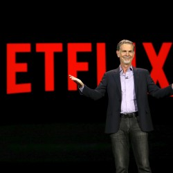 Reed Hastings, co-founder and CEO of Netflix, delivers a keynote address at the 2016 CES trade show in Las Vegas, Nevada, Jan. 6, 2016.