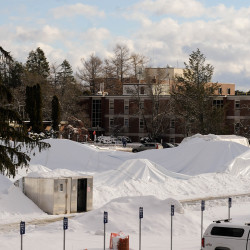 The air-supported indoor practice facility Mahaney Dome, which collapsed under the pressure of heavy snow that fell Thursday night into Friday, can be seen on Friday at the University of Maine in Orono.