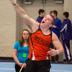 Austin Lufkin of Brewer High School competes in the shot put during the Penobscot Valley Conference-Eastern Maine Indoor Track League championship meet on Feb. 6, 2016. The senior recently extended his PVC-EMITL record to 59 feet, 11 3/4 inches.