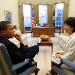Sen. Susan Collins (right) sits with President Barack Obama in the Oval Office in Washington, D.C., in this file photo.