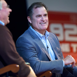 Red Sox manager John Farrell answers questions during an event at Gracie Theater at Husson University in Bangor Wednesday.