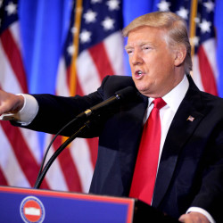 Donald Trump gestures at a press conference at Trump Tower in New York on Jan. 12, 2017. It was his first press conference in months.