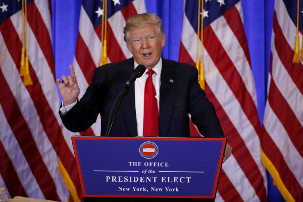 President-elect Donald Trump speaks during a news conference in the lobby of Trump Tower in Manhattan, New York City, Jan. 11, 2017.