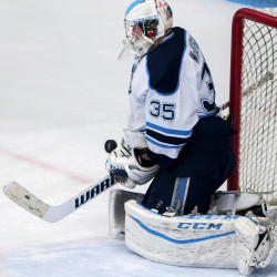 University of Maine goaltender Rob McGovern, pictured during a Dec. 3, 2016, game in Orono, shut out Connecticut last Saturday. This weekend, he and the Black Bears face the third-ranked Boston University Terriers for a two-game series.