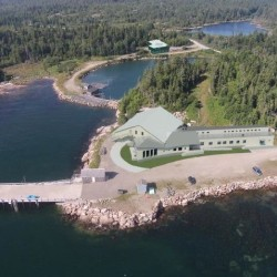 An artistic rendering shows an aerial view of what the marine research facility Downeast Institute, located on Great Wass Island in the town of Beals, will look like after a planned expansion is completed.