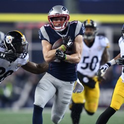 New England Patriots wide receiver Chris Hogan (15) runs the ball against Pittsburgh Steelers defensive back Cortez Allen (28) and cornerback Ross Cockrell (31) during the third quarter in the 2017 AFC Championship Game at Gillette Stadium on Sunday night. The Patriots won 36-17 and will face the Atlanta Falcons in the Super Bowl on Feb. 5.