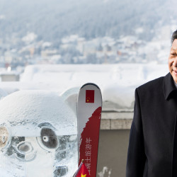 Chinese President Xi Jinping stands next to a panda ice sculpture as he launched the Swiss-Sino year of tourism with Swiss President Doris Leuthard (not pictured) on the side line of the 47th annual meeting of the World Economic Forum (WEF) in Davos, Switzerland, Jan. 17, 2017.