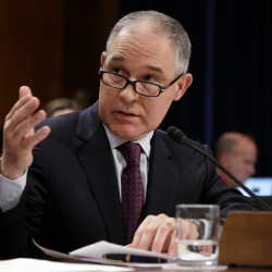 Oklahoma Attorney General Scott Pruitt testifies before a Senate Environment and Public Works Committee confirmation hearing on his nomination to be administrator of the Environmental Protection Agency in Washington, Jan. 18, 2017.