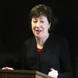 U.S. Sen. Susan Collins speaks to officials at the Aroostook County Action Program in Houlton, Nov. 1, 2016.