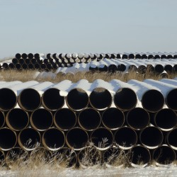Pipes for Transcanada Corp's planned Keystone XL oil pipeline are pictured in Gascoyne, North Dakota, Nov. 14, 2014.