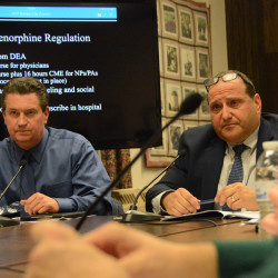 Bangor City Council members David Nealley (left) and Chairman Joe Baldacci can be seen in this November 2016 file photo.