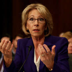 Betsy DeVos testifies before the Senate Health, Education and Labor Committee confirmation hearing to be next secretary of education on Jan. 17 at Capitol Hill in Washington.
