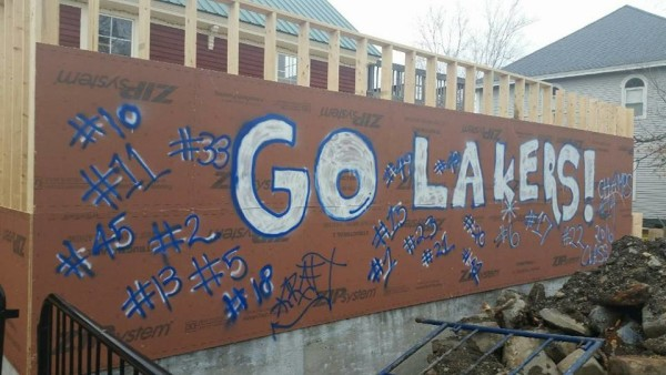 A show of support for the Greenville Lakers soccer team during the fall 2016 playoffs during renovations at the Stress Free Moose restaurant in Greenville.