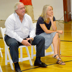 Developer Paul Coulombe (left) and Danielle Betts, a civil engineer with the Knickerbocker Group, listen to public comments during an information session on a proposal for a roundabout, as well as Coulombe's plans for a future retail development in Boothbay, in Boothbay in this August 2016 file photo.
