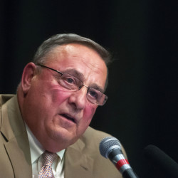 Gov. Paul LePage answers questions from the audience during a town hall meeting at William S. Cohen School in Bangor in this May 2016 file photo.  LePage had another town hall meeting on Wednesday in Biddeford.
