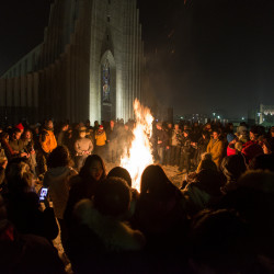 People gather at Hallgrims church to celebrate the New Year in Reykjavik, Iceland, January 1, 2017.