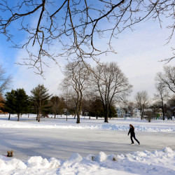 Amy Jones of Bangor, ice skates in Broadway Park while home on break from college. Bangor Parks & Recreation makes and maintains five outdoor ice rinks for free public skating around town: Bangor Gardens Park on Knox Avenue, Broadway Park on Broadway, Chapin Park on Forest Ave, Fairmount Park on Norway Road, and Stillwater Park on Howard Street.