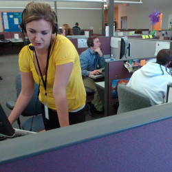 Denise Tirrel of Dover-Foxcroft helps a customer at NexxLinx in Orono in this October 2011 file photo.
