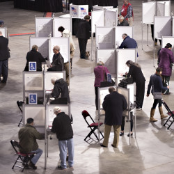 People vote at the Cross Insurance Center in Bangor on Nov. 8, 2016.